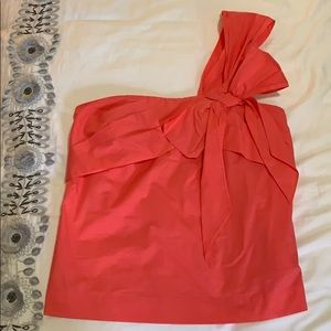 J. Crew hot pink one shoulder top with bow